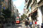 A streetcar moves down an Istanbul street