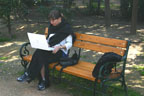 Stefanie composes in Green Park, Athens