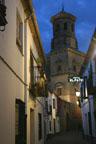 Our street at night in Baeza, Spain