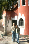 Stefanie poses with our friend Floyd in front of our house in Mexico