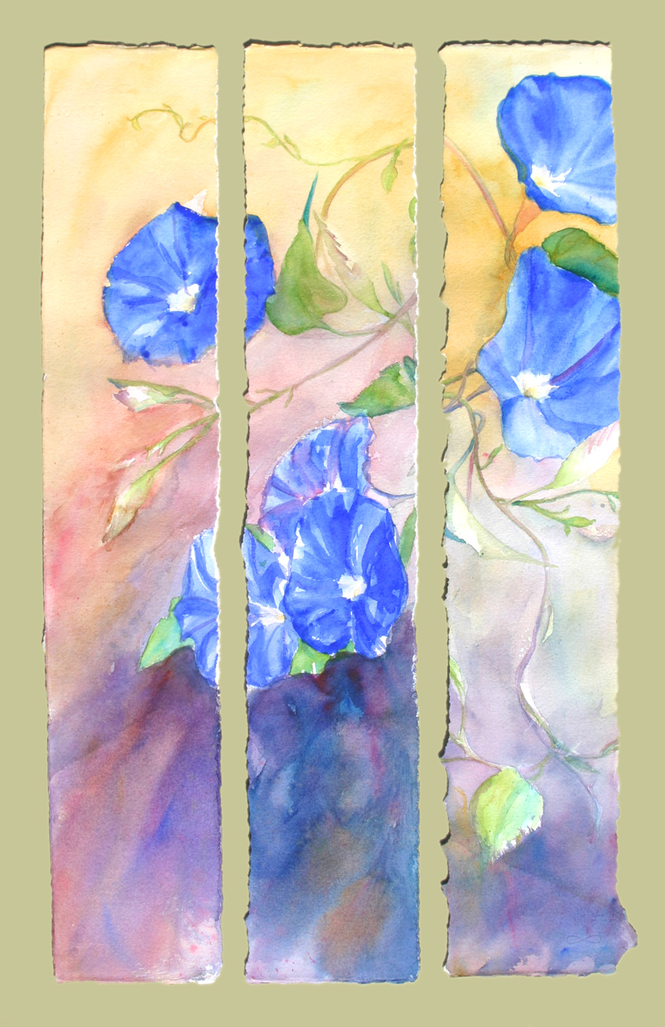 """Morning Glory Triptych"" 34""x25.75 $700"